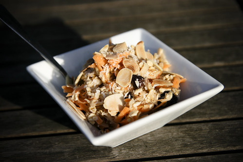 Breakfast: Bircher Muesli with Carrots, Coconut and Toasted Almonds