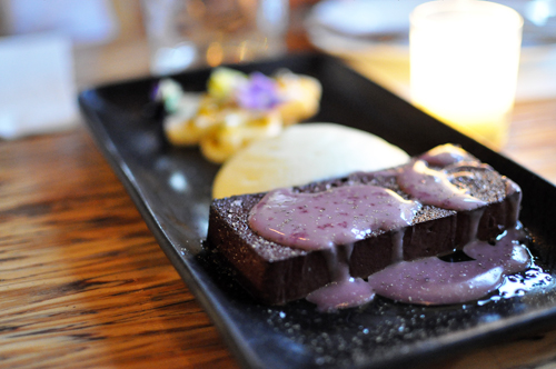 Homemade Boudin Noir Terrine, Potatoe Puree, Musyatf, Black Currants