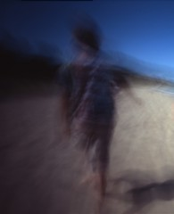 beach walker (sarafigal) Tags: film mediumformat pinhole lakemichigan zeroimage expiredfilm zero69