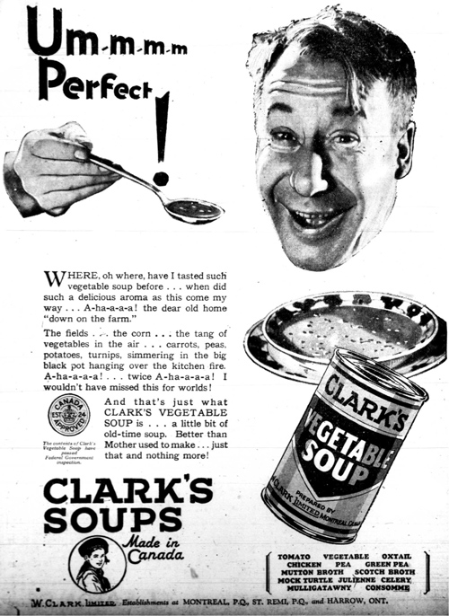 Vintage Ad #904: Clark's Soup is Perfect for Disembodied Heads