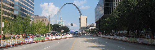 The course, crowd, finish line, and Arch in St. Louis