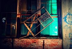 horizontal. vertical. diagonal. (artsy_T) Tags: brick abandoned window glass lines decay detroit picnik packard urbex