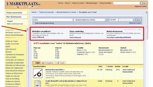 Marktplaats.nl AdMarkt Mini-advertenties voorbeeld