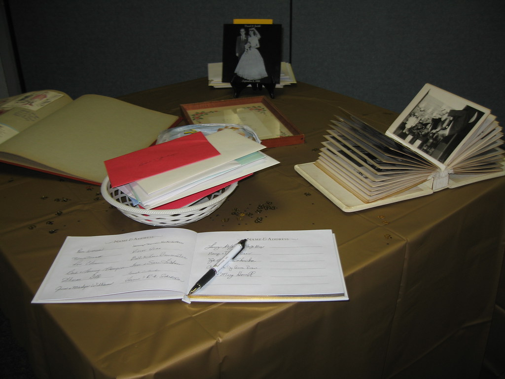 Reception guest book table