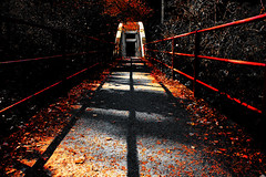 Cross bridge (goofypikz) Tags: bridge autumn red fall switzerland shadows footbridge ominous emme converginglines