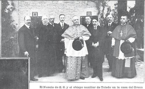 El Nuncio del Papa, Francesco Ragonesi, en Toledo en 1914 con motivo del III Centenario de la Muerte de El Greco. Revista La Ilustración Artística. Foto Vidal