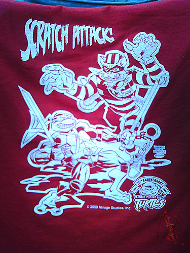 """Scratch Attack ! "" - Jake Black benefit T-shirt ,True Red .. art by Fernando León González & Ryan Brown i (( 2009 ))"