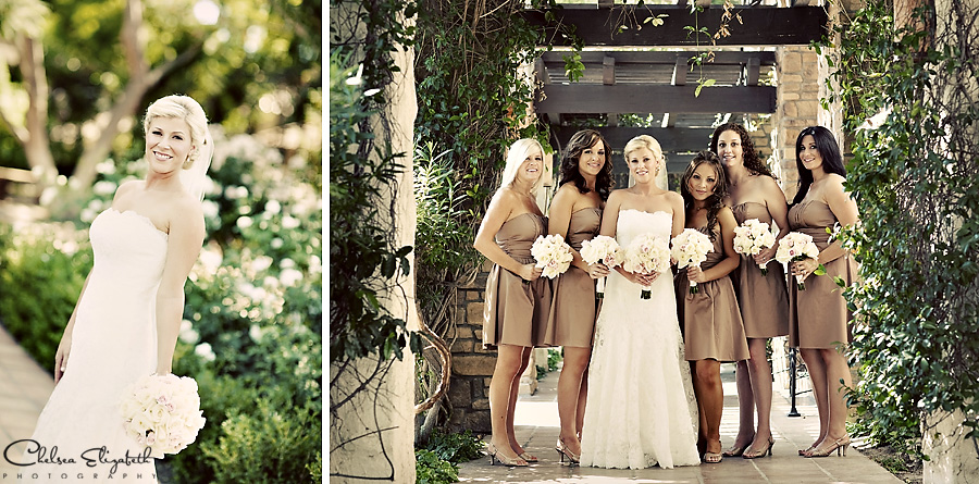 Westlake Village Inn bridesmaids portrait in walk way picture