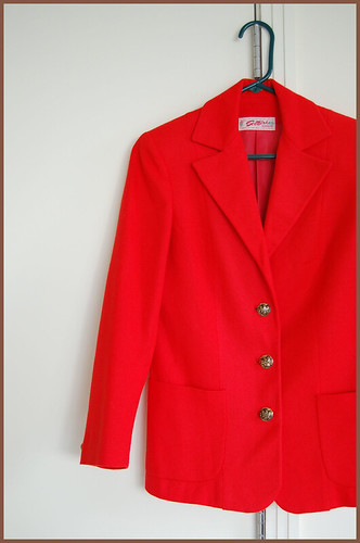 vintage red-orange wool jacket