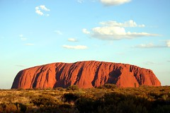 Uluru - Ayers Rock Sunset (Heaven`s Gate (John)) Tags: travel sunset red mountain nature rock sandstone peaceful australia icon sacred outback uluru aboriginal monolith tranquil northernterritory ayersrock 10faves johndalkin heavensgatejohn vosplusbellesphotos