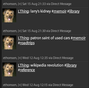 Screenshot of Adding Books to LibraryThing via Twitter
