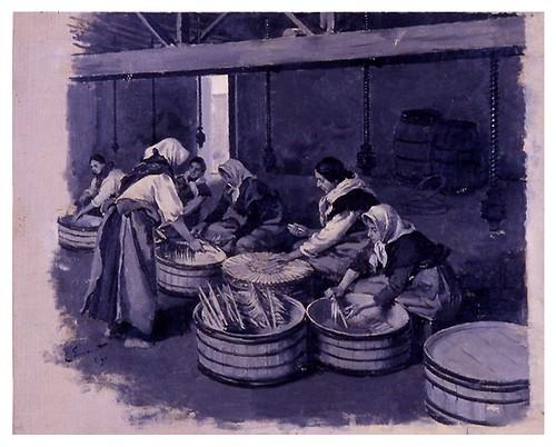 I.E.A. 8 MARZO 1912 - 1.º N.º IX. Pág. 137. ENCUBADO DE SARDINAS EN GIJÓN -DIBUJO DE SIMONET