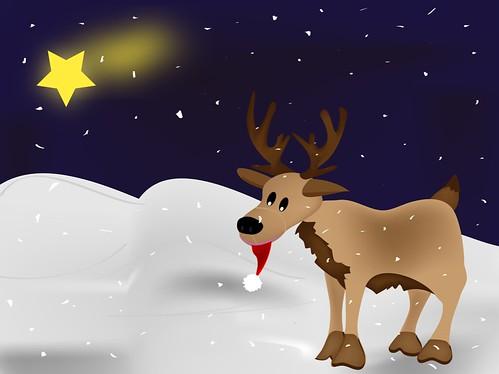 reno navidad nevado dibujo