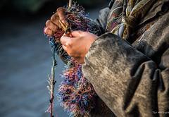 2016 - China - Beijing - Busy Hands (Ted's photos - For Me & You) Tags: 2016 beijing china cropped nikon nikond750 nikonfx tedmcgrath tedsphotos vignetting hands bokeh templeofheaven beijingchina scarf