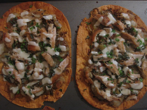 Fresh Herbs, Potato and Chicken Flatbread Pizza