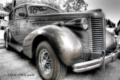 One Sweet Ride (Angiezpics) Tags: bw white black classic car 1930s buick hdr sweetride photomatix backtothe50s minnesotastatefairgrounds
