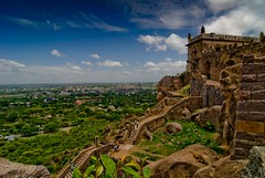 Imperial (knowsnotmuch) Tags: blue clouds ruins skies fort tokina1224 hyderabad pp golconda