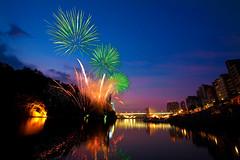 Bitan Summer Festival Fireworks  (olvwu | ) Tags: light summer reflection water festival night festive colorful glow fireworks explosion taiwan taipei rockets  explode  taipeicity bitan taipeicounty sindian jungpangwu oliverwu oliverjpwu olvwu sindianriver  sindiancity jungpang bitansummerfestival