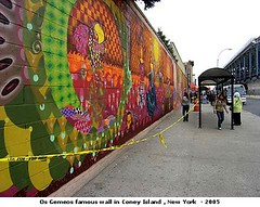 Os Gemeos famous wall in Coney Island , New York  - 2005. (artimageslibrary) Tags: art osgemeos mestrevitalino museumhetdomein sibaeafuloresta artknowledgenews galleryfortesvilaça