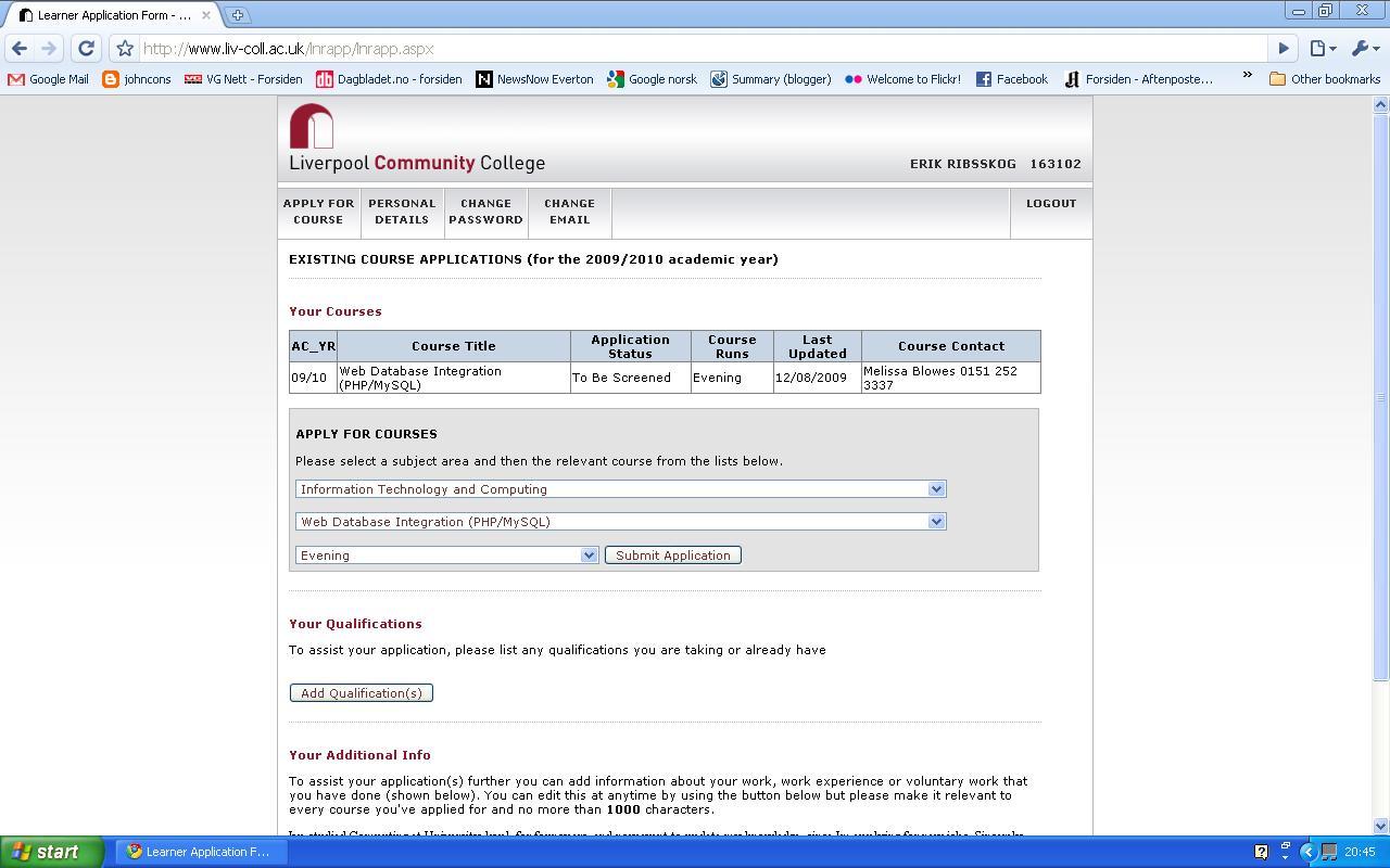 kurs i web database integrering