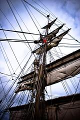 tallish ship (le_shark) Tags: boat ship flag sails belfast rope sail tall mast ropes tallship 2009