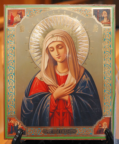 Icon 2, reproduction, made in Russia, from the collection of the Marianum, photographed at the Cathedral of Saint Peter, in Belleville, Illinois, USA