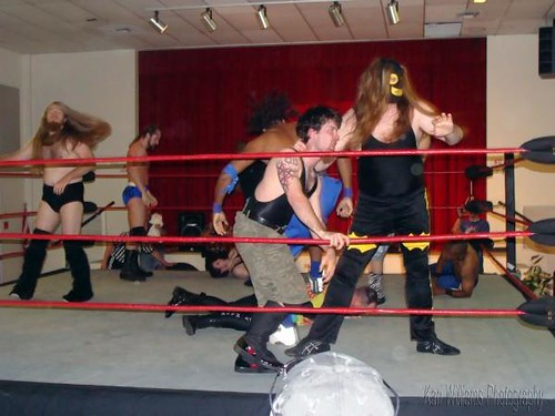 Kabal attempts to eliminate Neil Diamond Cutter from the battle royal as Alexandre Rudolph and Mark Sterling look for their next victims. Photo by Kari Williams