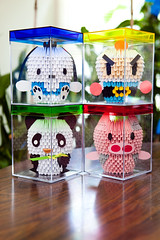 ALL1 (qiaochang) Tags: pig panda bomberman pochacco modularorigami origamipanda origamipig 3dorigamibomberman origamipochacco