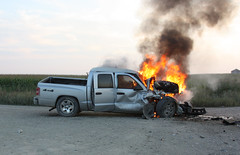 Traffic Accident with Fire in Rural Iowa (gene5335) Tags: summer truck fire midwest scenery driving traffic crash accident debris kaboom police first pickup iowa burn damage oops paramedic ems 2009 fubar yikes doh collision ohcrap flatbed injuries tractortrailer snafu howsmydriving responders