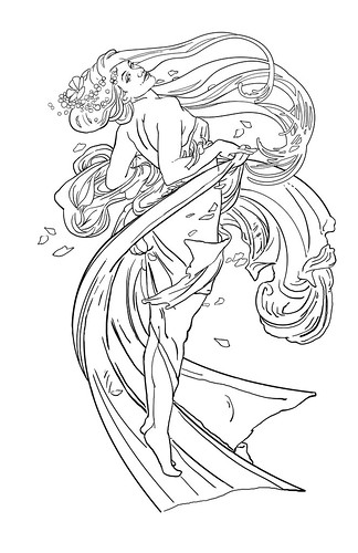 sherie_lake2 · sherie_lake · Mucha-inspired Tattoo - Line art whole
