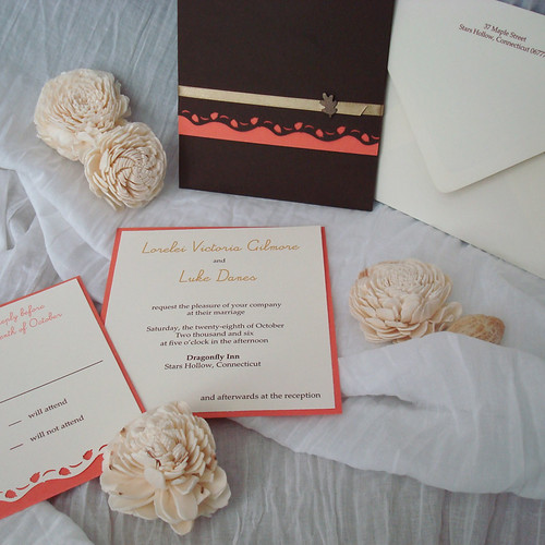 Ivory, Orange, and Brown Wedding Invitations-1