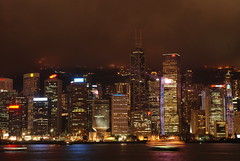 The Hong Kong skyline at night from Kowloon during the Symphony of Lights
