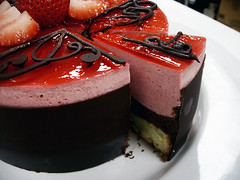 night and fire cake - sliced (gfcookiegirl) Tags: cake chocolate strawberries pistachio raspberry hazelnut mousse genoise