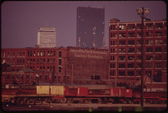 Looking Toward Copley Square from Pier 4, South Boston, in the Early Morning. John Hancock Building, with Boarded Windows, in Rear 05/1973 (The U.S. National Archives) Tags: boston plywood brokenwindows johnhancockbuilding impei environmentalprotectionagency johnhancocktower clarendonstreet clarendonst hancockplace thehancock documerica 200clarendonstreet plywoodpalace impeiandpartners impeipartners usnationalarchives 200clarendonst nara:arcid=550065 plywoodranch