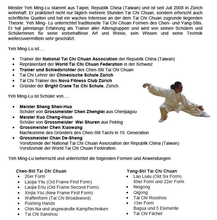 Bright Crane Tai Chi Zurich - Bright Crane Tai Chi | Taiji, Qigong & Kungfu | Kurse für Einsteiger und Fortgeschrittene | Gruppen- und Privatstunden | Eine erste Probelektion in einer Gruppenstunde ist kostenlos | Zertifizierter Chen Stil und Yang Stil Tai Chi Chuan Trainer. - www.brightcrane.ch