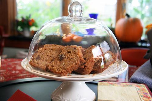 pumpkin bread under glass