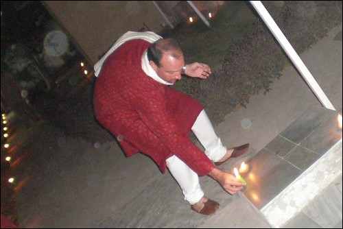 Lighting Diwali Candles