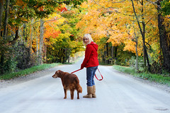 Color Walk (thisisbrianfisher) Tags: autumn red dog pet color tree fall nature leaves rural outside outdoors golden leaf boots walk michigan brian coat country scenic explore blond fisher retreiver leash saline kaytee ugg brianfisher thisisbrianfisher kayteeb