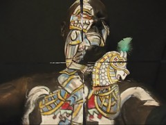 Oh, what a Knight! James Kuhn. Face paint in motion vid. (hawhawjames) Tags: horse white man art face painting james video paint artist mask puppet body head chest makeup armor knight 365 shining kuhn vid
