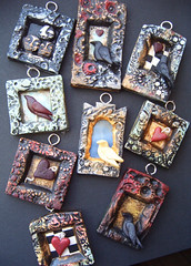 November-pendants (so far) (gabriel studios) Tags: red black bird texture moody heart handmade oneofakind painted clay ethereal crow etsy raven sculpted pendants polymer gabrielstudios michelegesing