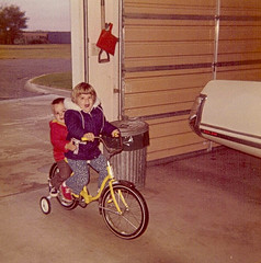 October 1973 (funny strange or funny ha ha) Tags: oklahoma bicycle training jones october farm garage wheels ok hooker 1973 73945
