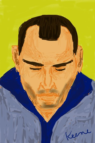 Man on subway (iPhone drawing)
