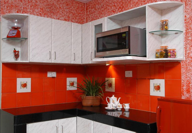 Red and Green Wall Kitchen Design