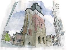 Liège, St-Denis (gerard michel) Tags: architecture sketch belgium liège croquis