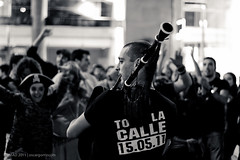 Spanish Revolution 28M-3540 (NOMMAD PHOTO) Tags: street portrait people blackandwhite canon photography photo riot spain europe protest demonstration galicia spanish revolution piper acorua spanishrevolution
