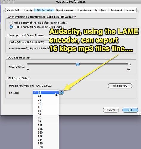 Audacity Exports 16 kbps files fine
