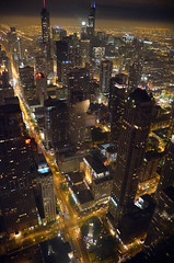 High life (vegetablepredator) Tags: city sunset urban usa chicago tower fog night lights us illinois lumiere blade hancock runner nuit brouillard ville urbain