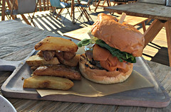 2017 Sydney: Acre Eatery and Farm #12 (dominotic) Tags: 2017 food acreeateryandfarm sydney nsw australia camperdown innercityfarm pocketcityfarms urbanfarm camperdownfarm cafe restaurant picnicarea herbs vegetables produce iphone6 cheeseburger chips