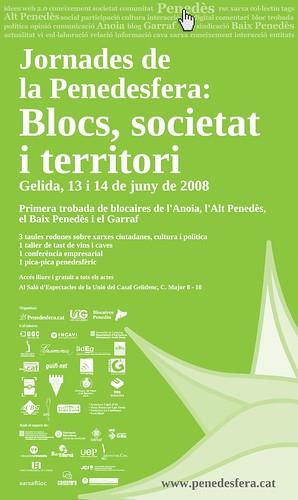 """Cartell de les 1es Jornades de la Penedesfera: """"Blocs, societat i territori"""""""