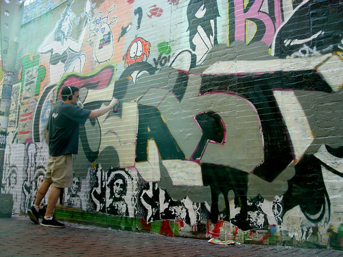 In action at the wall at central square